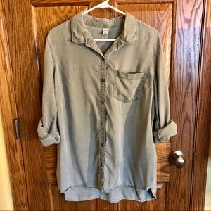 Old Navy Relaxed Green Button Up Shirt